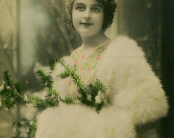 1912 Edwardian Lady with Evergreens, Joyeux Noël (Vintage Photo, Digital Scan, Instant Download, Crafts, Image Transfer, Graphic Design)