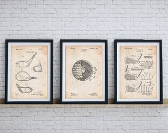 Golf Clubs Patent Posters Group of 3, Golf Dad, Golf Wall Decor, Golf Gifts for Men, Golf Print, Golf Patent, PP1160