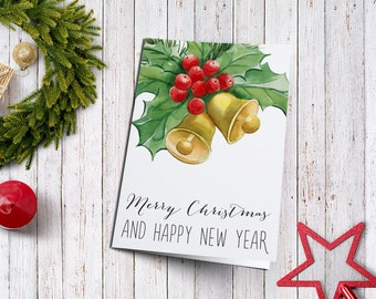 Christmas Card, Printable Holiday Greeting Card, Holiday Card, Printable Christmas Card, Merry Christmas & Happy New Year card Printable