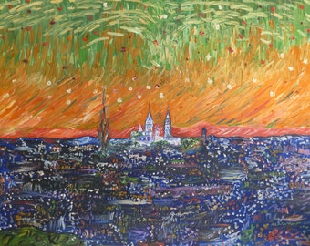 Big Sale - 10 % Original Oil Painting: Paris and the SACRE COEUR with stars, Canvas Art, Modern Fine Art with frame.