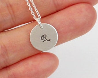 Sterling Silver initial necklace,Personalized initial letter charms, Bridesmaid gifts,friendship,Wedding Bridal Jewelry, 12mm disc