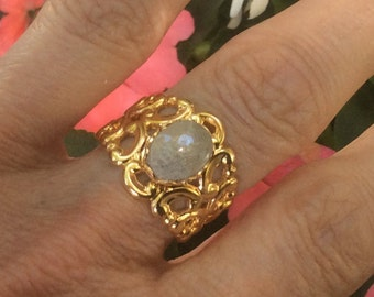 Petoskey Stone Ring - Adjustable - Gold