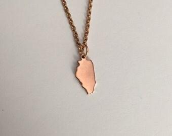 Illinois Necklace, Illinois, rose gold Illinois necklace, Illinois jewelry, Illinois pendant, state necklace, state, rose gold necklace