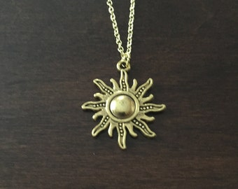 Sun Necklace, Sun, Gold Sun Necklace, Sun Jewelry, Sun Pendant, Gold Sun Jewelry, Gold Sun, Gold Sun Pendant, Necklace, Gold Necklace