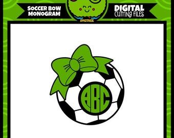 Soccer SVG Soccer Mom SVG Bow Monogram SVG Soccer Monogram svg Commercial Free Cricut Files Silhouette Files Circle Monogram svg