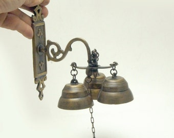 "6.50"" inches Tall Vintage Solid Brass Gate Front Door Antique Three Ringing Bell knock Door"