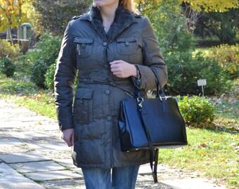 BLACK Leather Tote Bag, BLACK Leather Handbag, Womens Leather Handbag, Designer Leather Handbag, Leather Satchel Bag, Woman Leather Bag