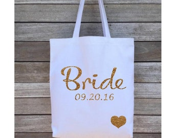 Bride Tote Bag, Wedding Tote Bag, Personalized Tote Bag