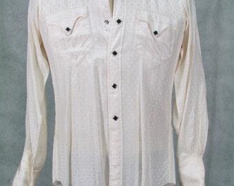 1950s Western Shirt -  Fancy Cowboy Vintage Diamond Black Snaps on White XS Size