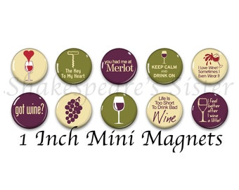 Wine Magnets - Fridge Magnets - Wine Lover Gift - 10 Magnets - 1 Inch Mini Magnets - Kitchen Magnet