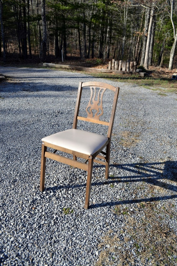 Vintage Stakmore Folding Chair Wooden Padded Vinyl Seat Extra
