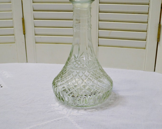 Vintage Pressed Glass Decanter with Stopper Retro Barware Wine Liquor PanchosPorch