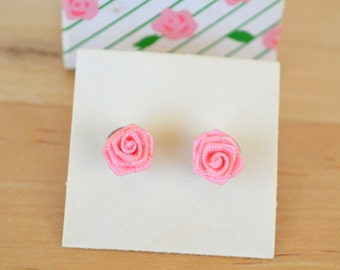 Avon Rose Blossom, light pink, shabby chic, rose, stud earrings, fashion, vintage jewelry, vintage pink, fabric flower, floral, princess