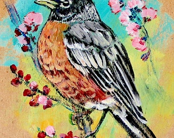 Robin on Cherry Blossom Branch 3x5 Print
