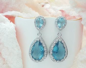 Aquamarine Earrings, Cinderella, CZ, Blue Stud Earrings, Aquamarine Teardrops, Wedding, Aquamarine Bridal Earrings, March Birthstone, E2043