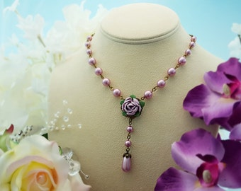Violet Wedding Necklace, Purple Flower Necklace, Purple Peony Necklace, Mauve Wedding, Mauve Pearl Necklace, Lilac, Teardrop Pearl, N4612