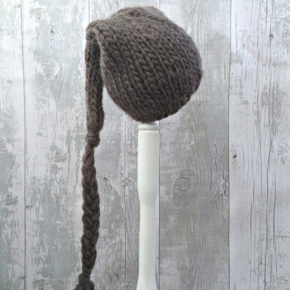 Knitting Pattern For Hat With Long Tail : Brown Baby Stocking Cap Long Tail Hat Knit Pixie by SnugCreations