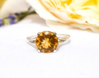 Natural Citrine Buff Top Ring with 925 Sterling Silver *Free Worldwide Shipping*