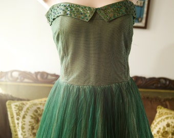 FLASH SALE 1950s green tulle ballgown with sequins