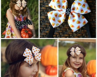 "Large 4"" orange black halloween witch pumpkin print hair bow hairbow or baby headband"