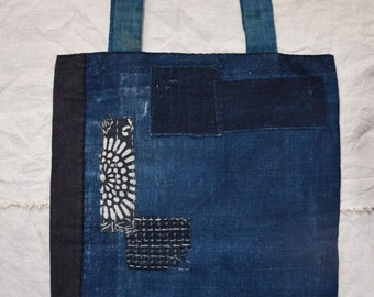 SALE 40% off Hand stitched Antique Japanese Indigo boro tote bag