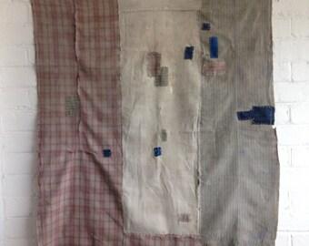 Unique Antique Japanese Boro Patched Textile - Large