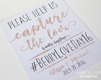 Wedding hashtag Sign Printable - Watercolor Calligraphy Instagram Sign - Social Media - Printable Facebook Sign - PDF - DIY - AA6