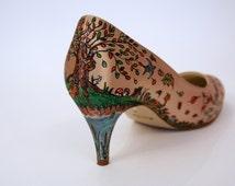 AUTUMN DAYS - Woodland Hand Painted Custom Shoe Decoration, Autumnal Forest, Birds, Animals, Acorns, Hand Drawn Bespoke Shoes