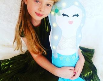 Light up Mermaid cushion, girls room decor, gift for girls, kids room decor, nursery decor