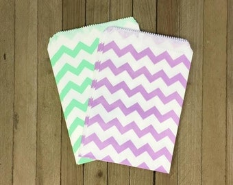 Lilac and Mint Chevron Treat Sack- Favor Bag- Paper Party Supply- Birthday, Wedding or Shower Supply- Garden Fairy Party- Chevron - 48 Pack