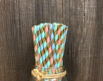 Pastel Foil Straws, Blue Foil Straws, 75 Paper Straws, Peach foil, Mint Foil Straws, Shower Party Supply, Wedding Straws, Free Shipping