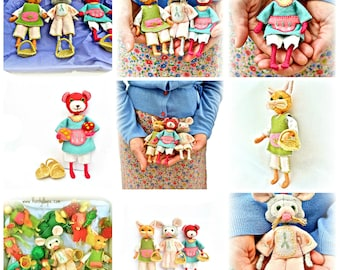 Felt animal doll sewing patterns / downloadable / pdf / Permission to sell in your Etsy shop