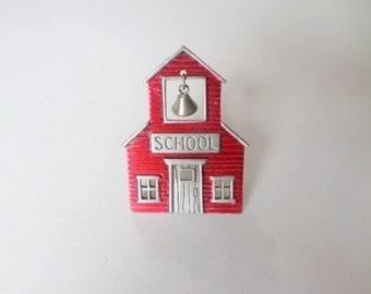 JJ Jonette School House Brooch Pin Red Schoolhouse Gift for Teacher Silver Bell School Vintage JJ Jonette Brooch Pin Jewelry