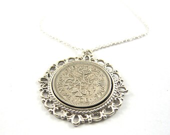 1961 Birthday Gift, Lucky Sixpence Necklace