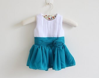 White Teal Flower Girl Dress with Straps White Teal Knee-length Chiffon Baby Girl Dress With Flower