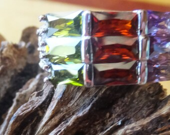 Rainbow Sterling Silver Ring......Size 7