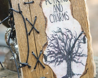 Potions and charms miniature wood journal keychain