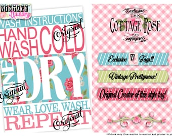 "DIY Print Yourself Cardstock Care Instructions/Laundry Tag or Card ""Cottage Rose"" PNG JPG Instant Download File Wash Instructions Label"