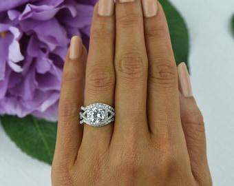 3.25 ctw Twisted Halo Bridal Set Infinity Engagement Ring
