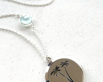 Stainless Steel Palm Tree Locket Diffuser Necklace