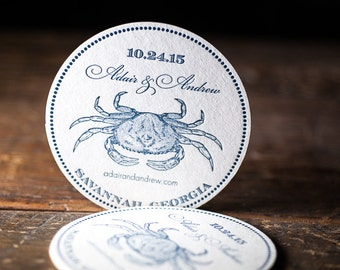 WEDDING FAVOR, COASTER, wedding decor, Save the date, coasters, crab, new england, set of 100