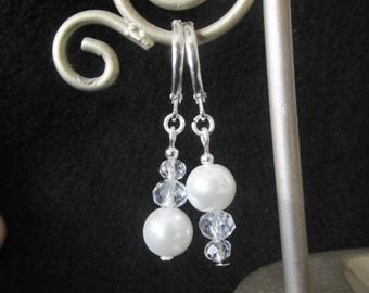 White Glass Pearl Earrings - Beaded Crystal Earrings - Silver Bead Leverback Dangle Earrings - Asymmetrical Earrings - Handmade Jewelry
