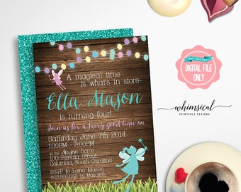 """Birthday Invitation """"Fairy Lights"""" (Printable File Only) Fairy Princess, Fairy Birthday, Fairy Invitation, Enchanted Forest, Fairy Forest"""