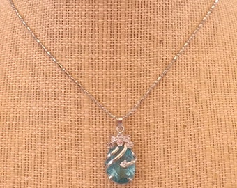 Wire Wrapped Blue Topaz and Rhinestone Necklace