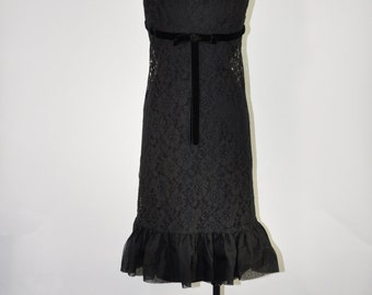 60s black lace dress / 1960s little black dress / sleeveless party dress
