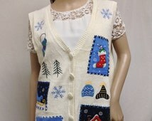 Free Ship Ugly Christmas Vest Off White Patchwork Snowflake Stocking Ice Skating Sleigh Size XL