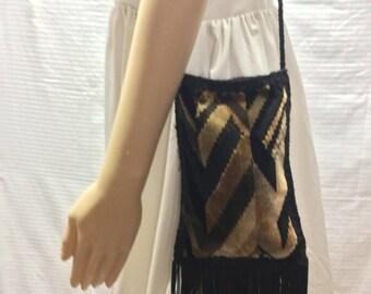 Fringed Tapestry Bag, Velour, Long Fringe, Shoulder Bag, Free US shipping