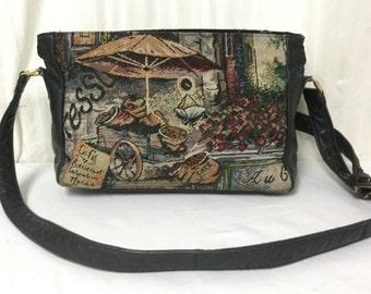 SAS, Tapestry purse,bag, Leather trim,Shoulder Bag