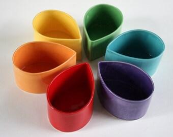 Colorful Ceramic Teardrop Bowls, Appetizer Set, Creamer and Sugar, Serving Dishes, Pitcher