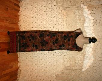 90s Sleeveless Maxi Dress Long Summer Dress Rayon Dress Beach Dress Print Dress Rust Brown Black Medium Womens Clothing Vintage Clothing